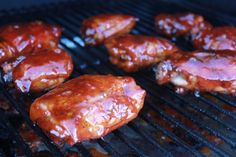 """""""Competition Style"""" BBQ Chicken Thighs. Learn how to grill chicken thighs like the pros! Grilled Chicken Thighs, Traeger Chicken Thighs, Chicken Thigh Recipes, Smoking Chicken Thighs, Bbq Grill, Barbecue, Smoked Chicken, Pellet Grill Recipes, Smoker Recipes"""
