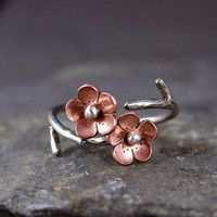 Cherry Blossom Branch Adjustable Ring,Spring single flower ring MADEtoORDER, Plum blossom, Twig jewelry, ROUND from Hapa Girls. Cute Jewelry, Jewelry Rings, Jewelry Accessories, Jewelry Design, Jewlery, Pandora Jewelry, Diy Jewelry, Ocean Jewelry, Nautical Jewelry