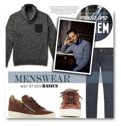 """""""Derek Blasberg: Basic Style Icon"""" by sportsonista ❤ liked on Polyvore featuring J.Crew, A.P.C., Giuseppe Zanotti, mens, men, men's wear, mens wear, male, mens clothing and mens fashion"""