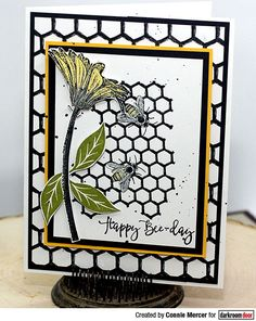 Card by Connie Mercer using Darkroom Door Buzzing Bees Stamp Set and Honeycomb Background Stamp Buzz Bee, Mixed Media Cards, Bee Cards, Card Sketches, Art Journal Pages, Color Card, Altered Art, Bees, Paper Crafts