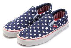 f95c4fa132c Vans Classic Slip-On American Flag Blue Canvas White Stars Skate Shoes  35