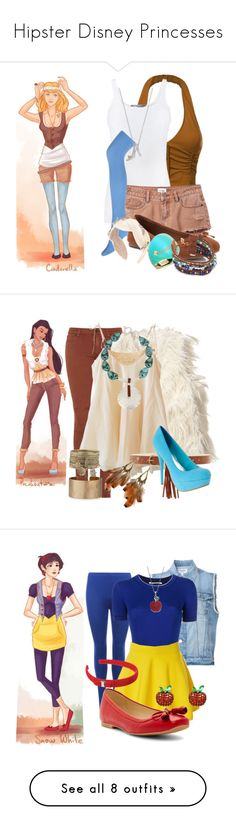 """""""Hipster Disney Princesses"""" by isabelle-lightwood-ships-malec ❤ liked on Polyvore featuring Disney, Vince, RVCA, Forever 21, SO, Maison Michel, Alexis Bittar, Chan Luu, Hollister Co. and Mes Demoiselles..."""