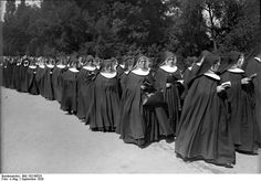 Why Catholic schoolkids could never get the better of the nuns - we were always outnumbered! They just kept coming and coming - and they all lived to be nearly a hundred too. Sr. Imelba passed away at 96 and everyone felt sorry that she died so young!  Sr. Francis from a friend's school is still being spotted and she's almost older than God! (She held up a girl's graduation because she owed a nickel on a library book, Those were the days!)