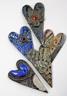 Raku Heart Cabochons by Lisa Peters Art, via Flickr