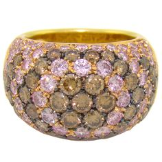 Luca Carati Vintage Pink Diamond & Brown Diamond Ring in 18K Yellow Gold