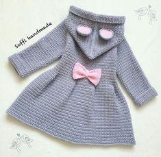 Baby Knitting Patterns, Baby Patterns, Baby Girl Presents, Presents For Girls, Mode Crochet, Knit Crochet, Baby Swimwear, Newborn Girl Outfits, Crochet Cardigan Pattern