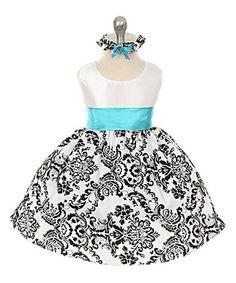 Loving this Aqua Flourish Sash Dress & Headband on #zulily! #zulilyfinds