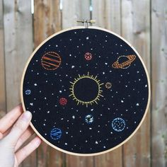"Solar System Embroidery Art - 8"" hoop, celestial stars, Sun and planets, hand…"