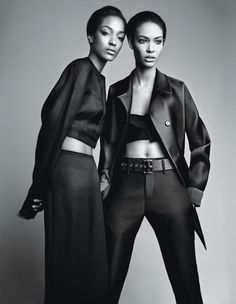 """"""" No frills with Jourdan Dunn and Joan Smalls. Photograph by Patrick Demarchelier; styled by Patrick Mackie; W Magazine February 2014. """""""