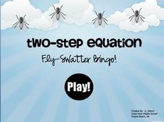 Two-Step Equation Fly-Swatter Bingo Game