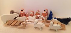 ImagiPlay Wooden Inuit Eskimo Arctic Expedition Playset Chunky Wood Pieces #Imagiplay
