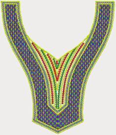 Summer Fashion Contrast Embroidered V Neck Designs - Embdesigntube