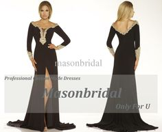 Designer Sexy Black Scoop Front Split Crystal Long Sleeves Evening Dresses Prom Party Gowns 118