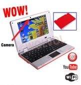 WolVol (Dark Red) New Model 7-inch Mini Laptop with Charger Mouse and Velvet Pouch Case (VIA 8850 1.2GHz, 512MB RAM, 4GB HD, Wi-Fi, Webcam, Netflix, Android 4.0)   ·        7-inch Slim Light Weight Trendy Mini Laptop RED ·    $119.94