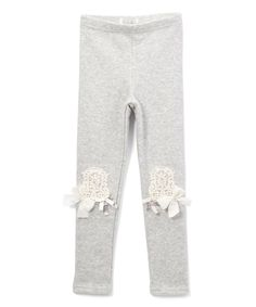 Take a look at this Frills du Jour Gray Knee-Patch Leggings - Toddler & Girls today!
