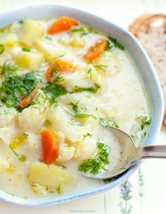 Wine Recipes, Soup Recipes, Cooking Recipes, Healthy Recipes, Polish Recipes, Polish Food, Cauliflower Soup, Soups And Stews, Clean Eating