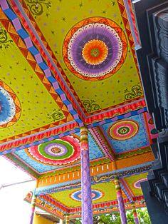 Temple ceiling, Nagapooshani Temple. Sri Lanka