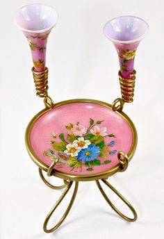 Antique French Opaline Vanity Stand with 2 Small Vases, Hand Painted