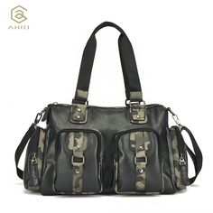d736997b9181 AHRI NEW 2017 Fashion Top handle Bag For Men Handbag PU Leather Shoulder  Men s Casual Tote Bags Vintage Camouflage Business Bag-in Crossbody Bags  from ...