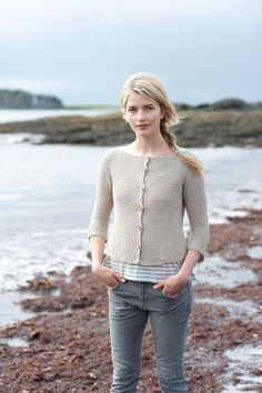 If you're fond of garter stitch, especially worked from the top down in a breezy shape, then this cardigan's for you. Worked in two strands of yarn held together, it knits up in no time and will be the kind of cardigan you could live in. Designed by Carri