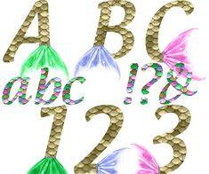 Mermaid Alphabet & Numbers - Rainbow Color
