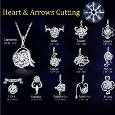 12 Constellation argent plaqué collier pendentif femmes bijoux de mariage coeur et flèches de coupe pendentif en cristal colliers