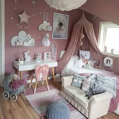 Bildresultat för flickrum sänghimmel gammelrosa