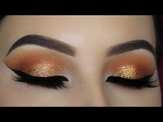 Warm Copper Glitter Eye Makeup Tutorial - YouTube