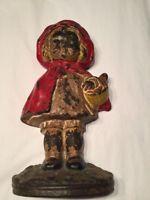 """Antique Cast Iron American Little Red Riding Hood Door Stop9 1/2"""""""