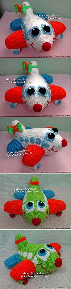 Knitted Funny Airplane - author of MK Alla Bakinovskoy.