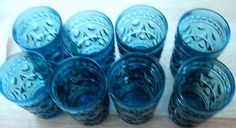 Vintage Blue Colony Park Juice Glasses   by WHISTLESTOPTRAINSHOP, $32.00