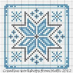 Creative Workshops from Hetti: Winter in the Netherlands - ornament cross stitch chart . no color chart available, just use the pattern chart as your color guide.Ideas que mejoran tu vidaThe Ukraine Kalada (kalyadki) midnight star! Biscornu Cross Stitch, Cross Stitch Charts, Cross Stitch Designs, Cross Stitch Embroidery, Cross Stitch Patterns, Embroidery Patterns, Hand Embroidery, Creative Workshop, Plastic Canvas Patterns