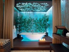 spa-esque wood paneling, curtained partitions. wish the ceiling was less crazy?
