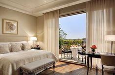 Milan Luxury Hotels | Palazzo Parigi Milan lobby master bedroom decoration with a beautiful city landscape view| #Luxuryhotels #hospitality #Interiordesign