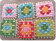 Granny Square Cookies - Sugar and Meringue