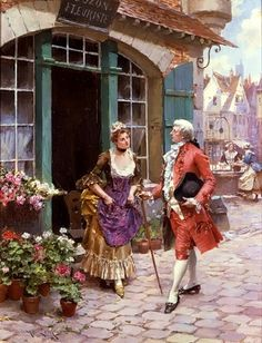 The Flower Merchant by Classic Cross Stitch ~ Based on a painting by Henry Victor Lesur (French, Victorian Paintings, Art Ancien, 17th Century Art, Academic Art, Art Costume, Vintage Cross Stitches, Fairytale Art, Classic Paintings, Historical Art
