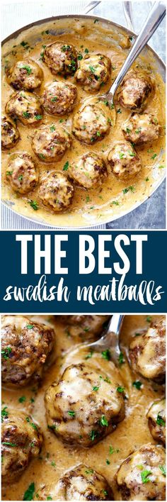 Making this for dinner! The Best Swedish Meatballs are smothered in the most amazing rich and creamy gravy. The meatballs are packed with such delicious flavor you will agree these are the BEST you have ever had! Beef Dishes, Food Dishes, Main Dishes, Brunch, Cooking Recipes, Oven Recipes, Polish Food Recipes, Crock Pot Recipes, Fondue Recipes