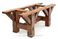 Rustic Furniture When it comes to furniture shopping, few enjoy the quest. Having to look at bed after bed, dining table after dining table, can really grate on your nerves. Diy Farmhouse Table, Rustic Table, Wooden Tables, Farm Tables, Dining Tables, Log Furniture, Furniture Projects, Wood Projects, Rustic Wood Furniture