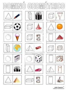 Domino med former Math For Kids, Fun Math, Math Games, Geometry Worksheets, Shapes Worksheets, Play School Activities, Math Charts, English Lessons For Kids, Montessori Math
