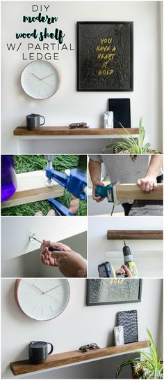 I LOVE this DIY modern wood shelf for an entry way. It