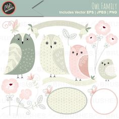 Owl Family - clipart for stationery and card making.