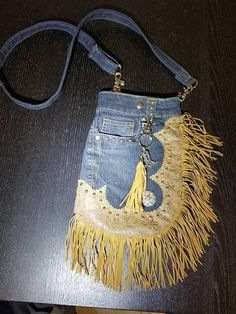 Blue Jean fringed Hip Purse with western style. Cross body bag, tooled faux leather with silver stud