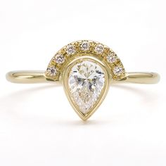 Now available on our store: 0.5 Carat Pear Di... Check it out here! http://www.artemerstudio.com/products/0-5-carat-pear-diamond-engagement-ring-with-half-diamond-halo?utm_campaign=social_autopilot&utm_source=pin&utm_medium=pin