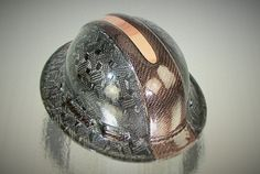 COPPER & CARBON / ZYLON HYBRID OVERLAY OVER CUSTOM CARBON FIBER HARD HAT - FRONT