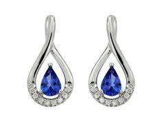 14KW 2 PEAR TANZANITE = 0.85CT W/ DIAMONDS = 0.12 CT POST DROP EARR PEAR SHAPE EARR  $790 | Colored Gemstone Earrings from Georgetown Jewelers | Wood ...