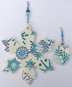 CLEARANCE: Turquoise, Blue and Periwinkle Snowflake Handmade Polymer Clay Christmas Ornaments, Set of 2
