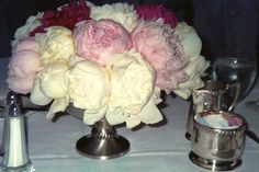 Peonies flowers look elegant as a centerpiece in a silver footed antique bowl on the wedding reception tables at Ritas' wedding Peonies Wedding Centerpieces, Peonies Centerpiece, Centrepieces, Peony Flower, Flowers, Wedding Reception Tables, Wedding Engagement, Engagement Ideas, Flower Delivery
