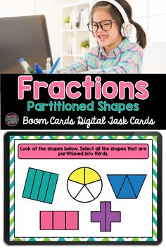 Introducing fractions with partitioning shapes? This Boom Card deck includes multiple-choice and drag and drop tasks focusing on building understanding of basic 2nd grade math vocabulary used when working with partitioned shapes: equal shares, halves, thirds, fourths, whole, quarters. Fun digital math practice for second grade! Teaching Second Grade, Second Grade Teacher, 2nd Grade Classroom, Third Grade Math, Card Deck, Deck Of Cards, Introducing Fractions, Math Vocabulary, Common Core Ela