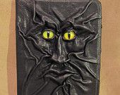 """Grichels leather 9"""" universal tablet computer/e-reader cover - """"Fywarbia"""" 28235 - black with custom bright citrus slit pupil eyes"""