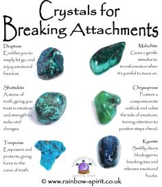 Rainbow Spirit crystal shop - My info poster on crystal healing properties for stones that help break attachments, for severance at the end of a relationship ❤️